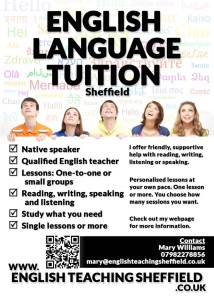 A flyer for a local English language teacher.