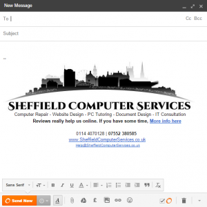 Sheffield Computer Services' HTML email signature with logo and hyperlinks.