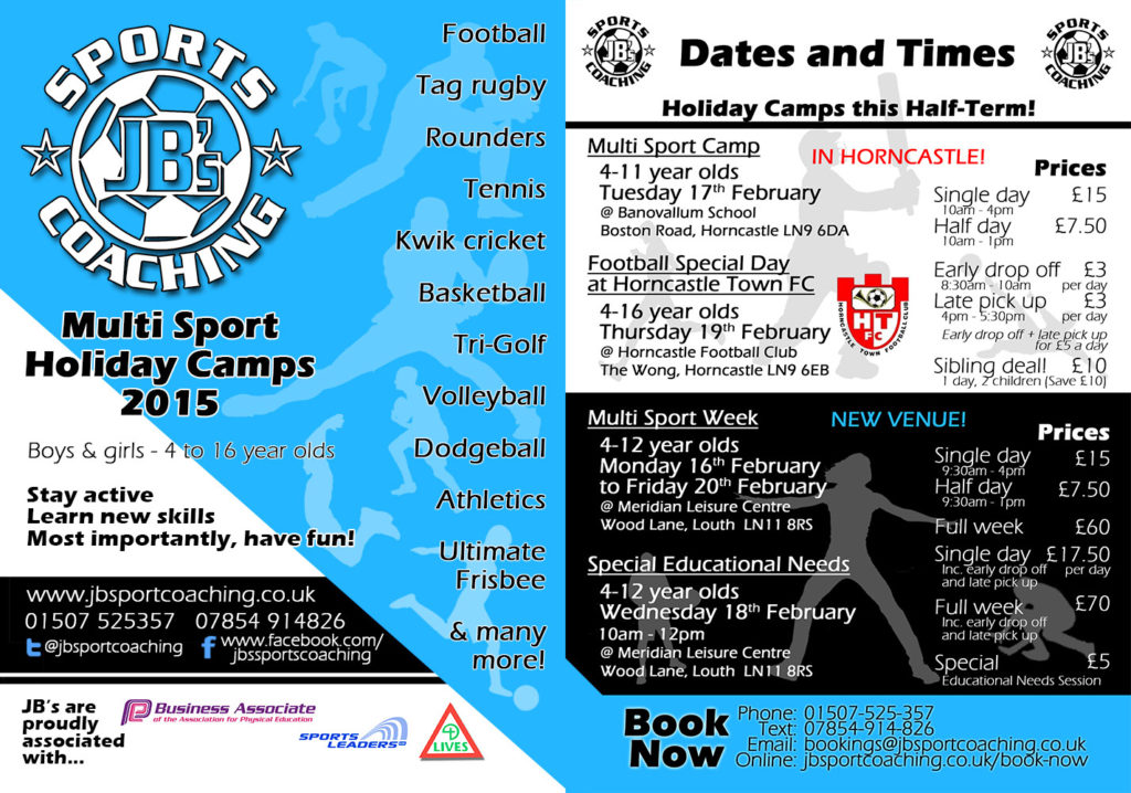 A Flyer for JBs Sports Coaching – Showing Multi Sport Holiday Camps February 2015. (Front and back of flyer combined)